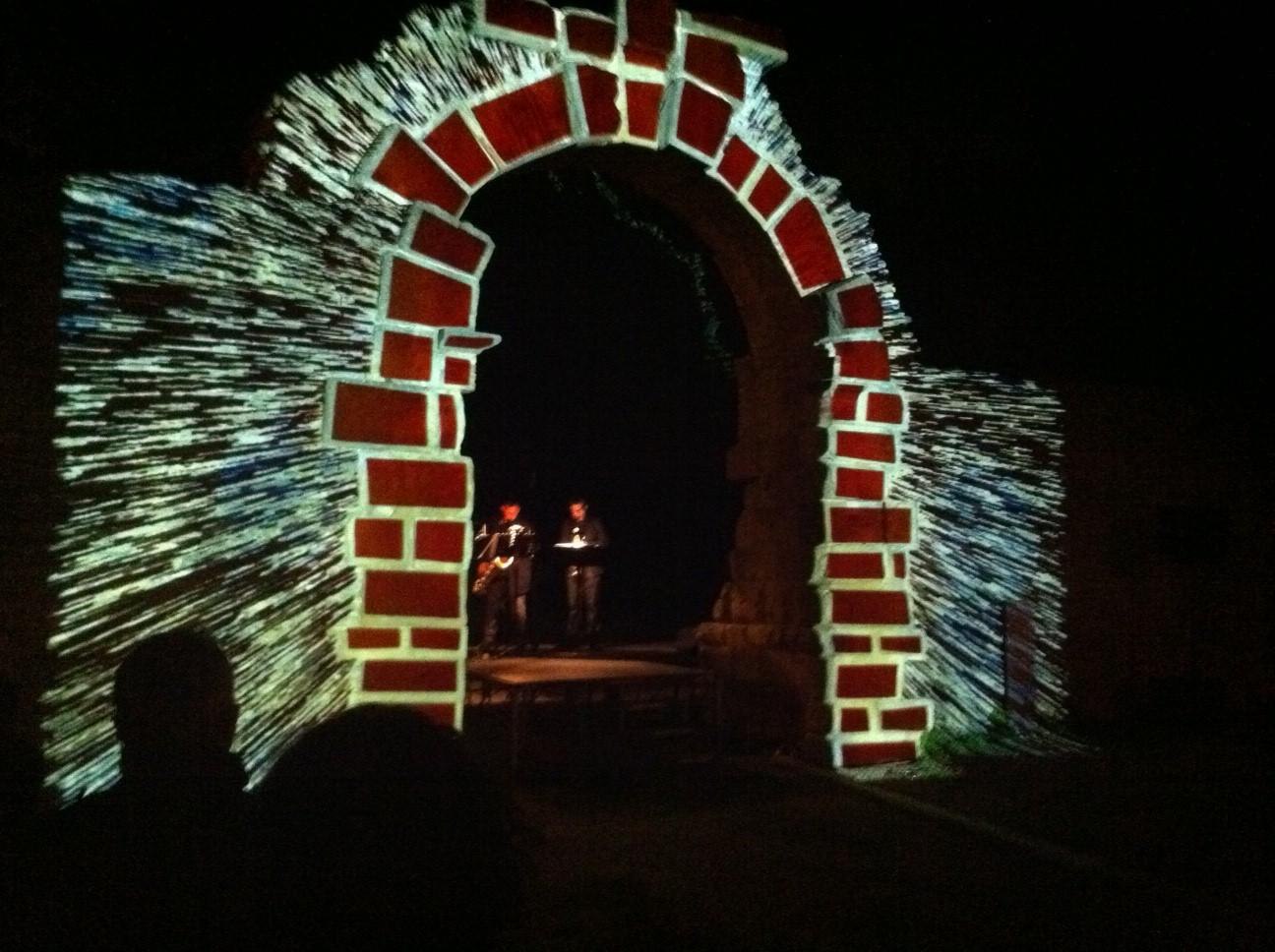 Mura Romane a Fano illuminate.