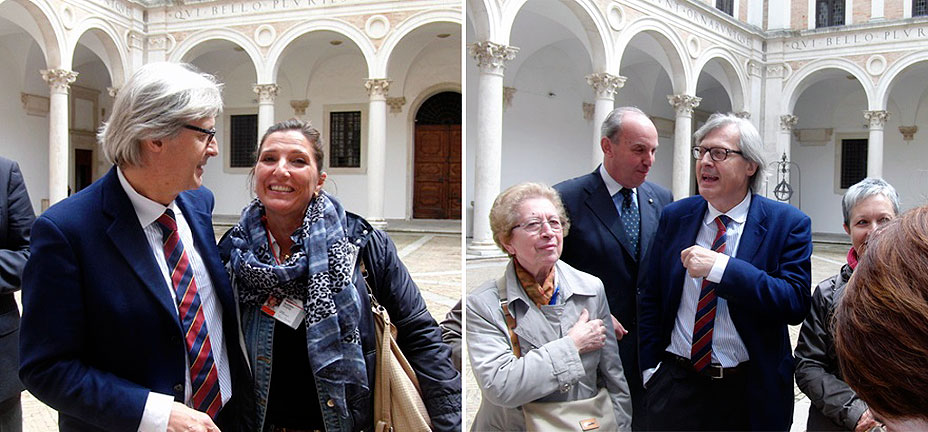 Vittorio Sgarbi con Patrizia Bucci a Urbino